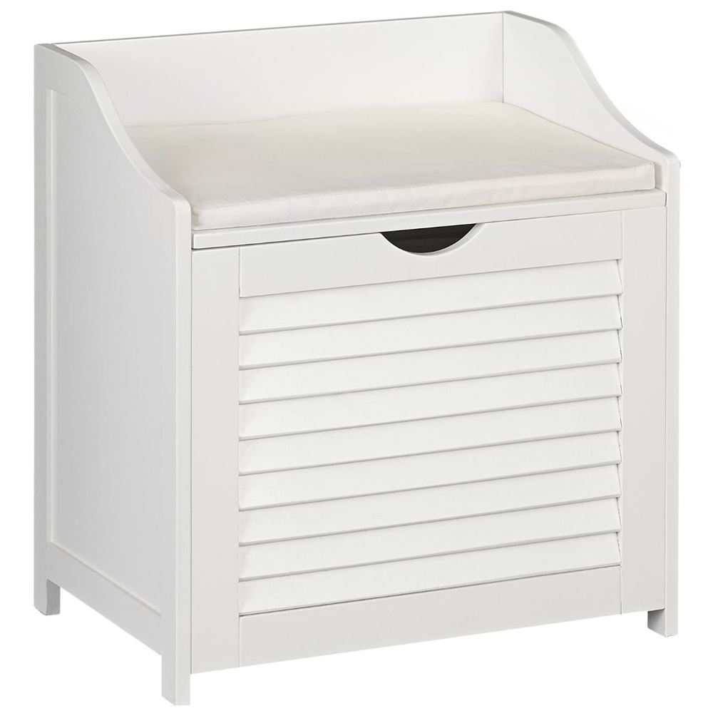 Bench With Hamper White In Clothes Hampers