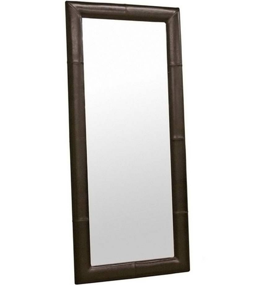 Bi cast leather floor mirror in framed mirrors for Mirror framed floor mirror