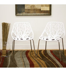 Birch Sapling White Plastic Accent Chairs - Set of 2 - by Wholesale Interiors - DC-451-White Image