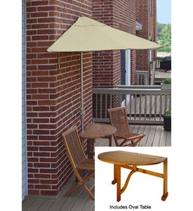 Bistro 5-Pc Patio Set with 9 Ft. Sunbrella Off-the-Wall-Brella by Blue Star Group Image