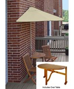 Bistro 5-Pc Patio Set with 9 Ft. Sunbrella Off-the-Wall-Brella by Blue Star Group