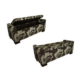Black Floral Storage Bench by O.R.E. Image