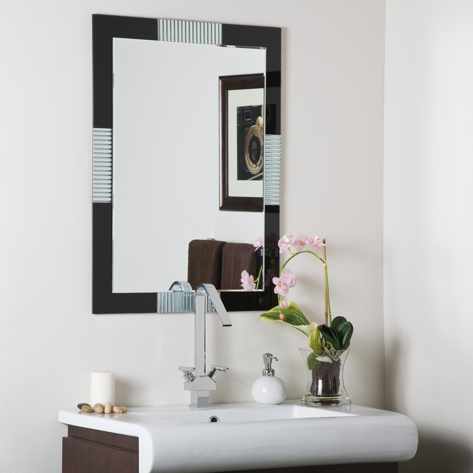 black frameless wall mirror in frameless mirrors. Black Bedroom Furniture Sets. Home Design Ideas
