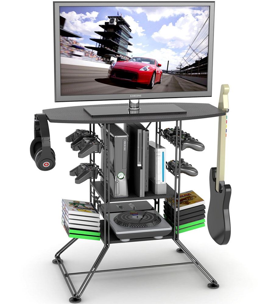 High Quality Black Game Storage And TV Stand Image