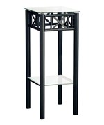 Black Metal Plant Stand with a Tempered Glass Top by Monarch Specialties