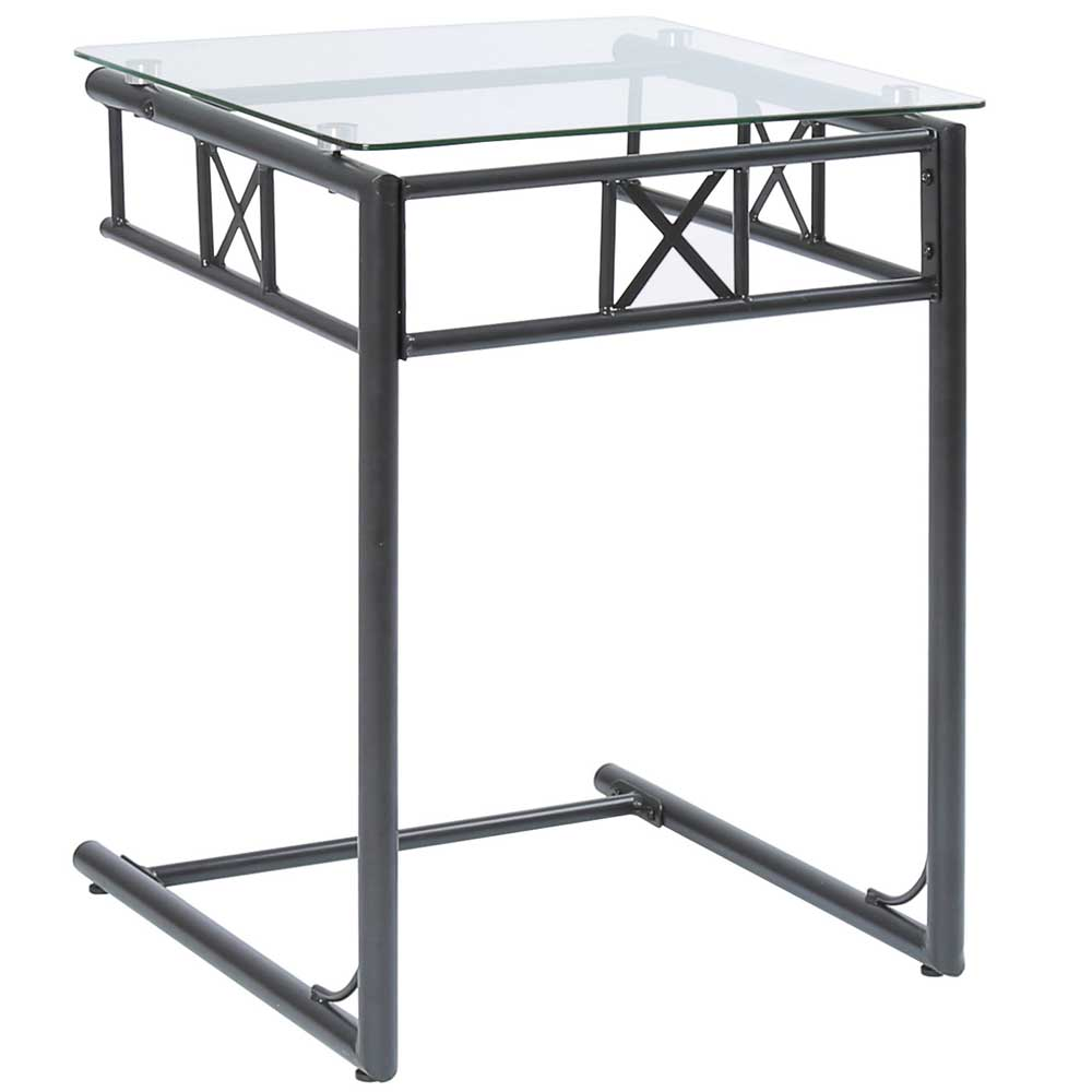 black metal snack table with a tempered glass top by monarch specialties