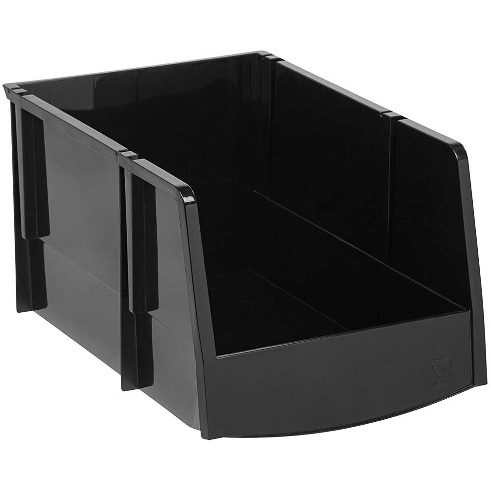 Black Plastic Stacking Bin In Plastic Storage Bins