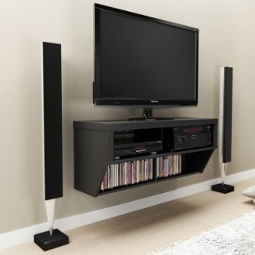 Black Tv Stand And Entertainment Console In Tv Stands