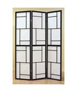 BLACK WOOD FRAMED 3 PANEL SCREEN BY MONARCH SPECIALTIES