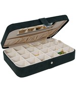 Faux Suede Travel Jewelry Case - Black