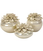 Blair Hand-Sculpted Floral Boxes - Set of 3 by Imax