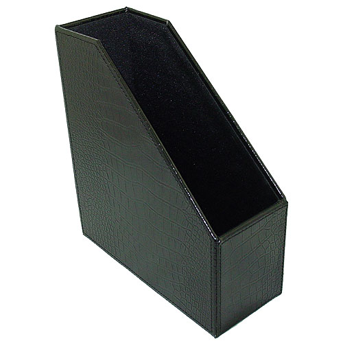 Faux Leather Magazine File Box - Black Croc in Magazine Storage Boxes