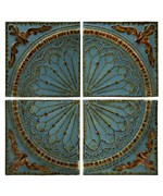 Blue Quarter Medallion Set of 4 Wall Panels by Imax