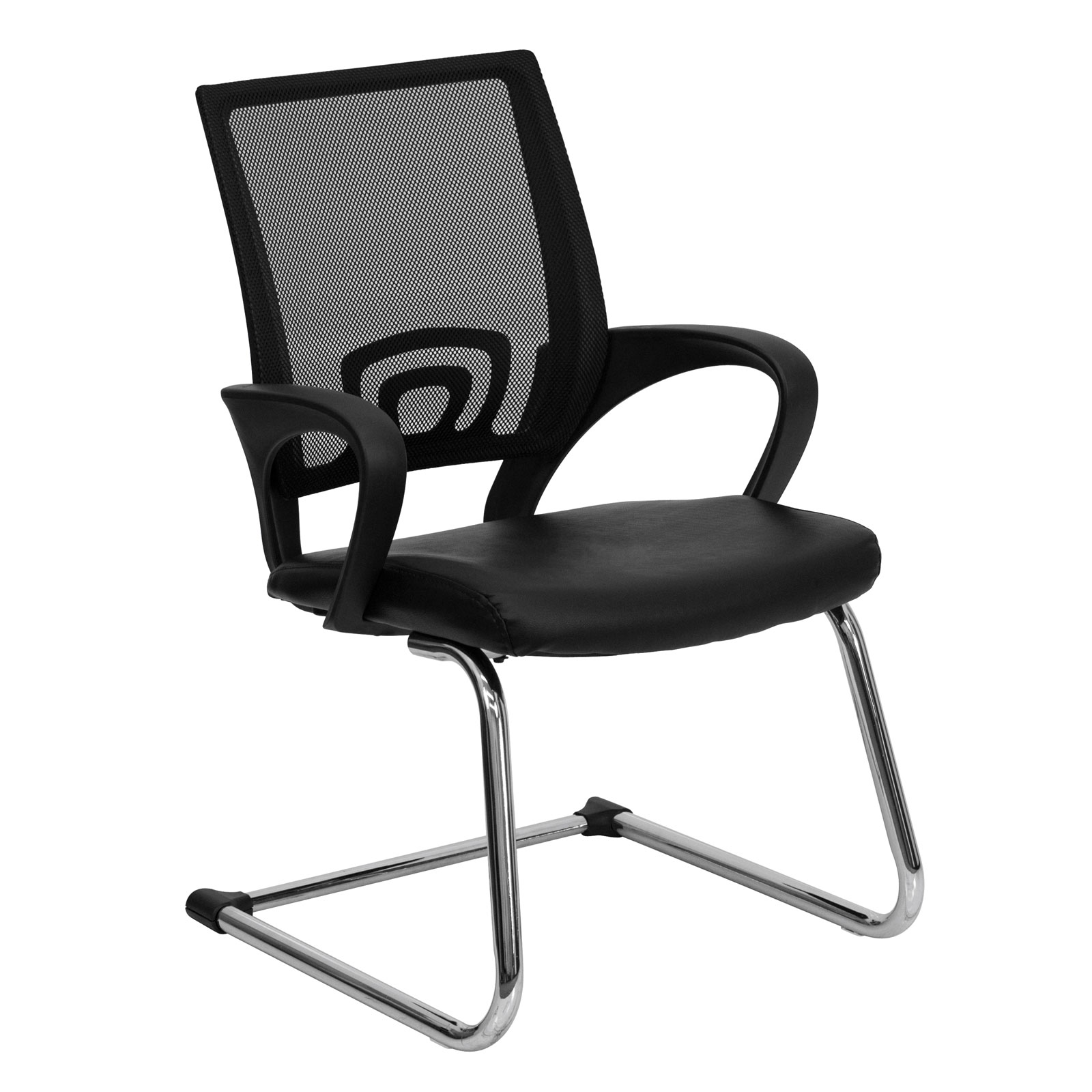 Bonded Leather Office Side Chair With Mesh Back By Flash