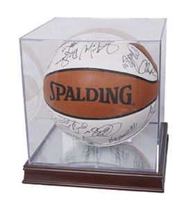 Acrylic Basketball Display Case and Wood Base Image