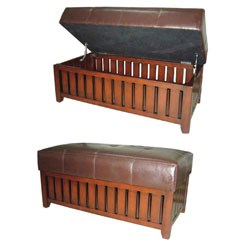 Brown Cushion Storage Wooden Bench by O.R.E. Image