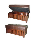 Brown Cushion Storage Wooden Bench by O.R.E.