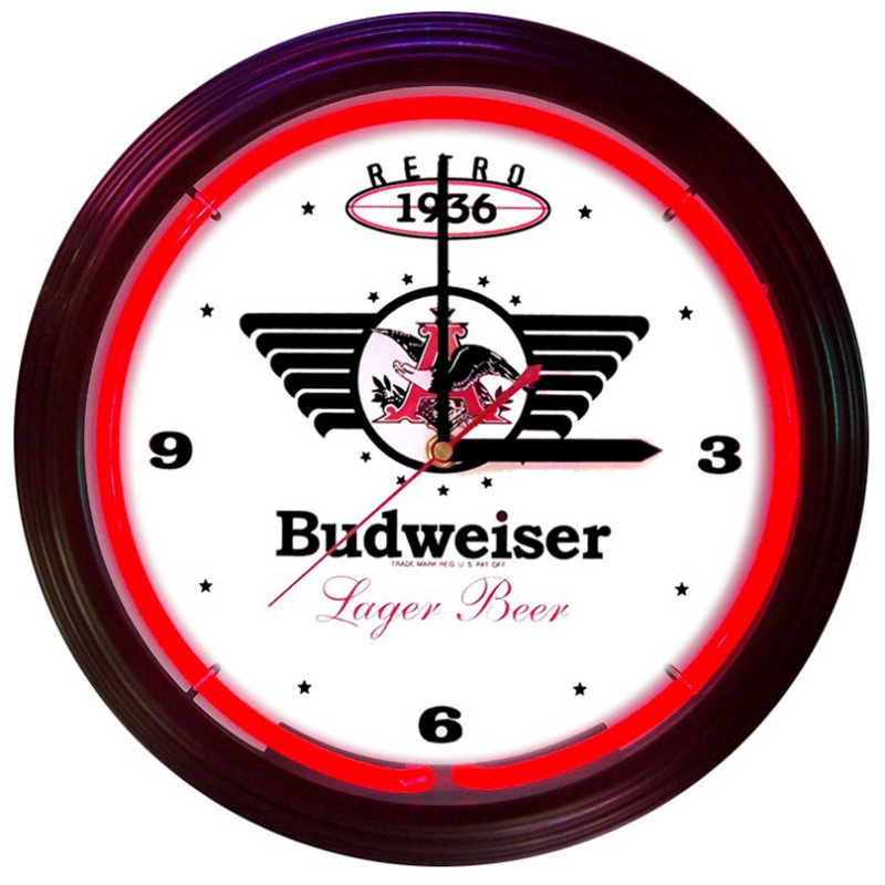 Budweiser 1936 Retro Neon Clock by Neonetics in Wall Clocks