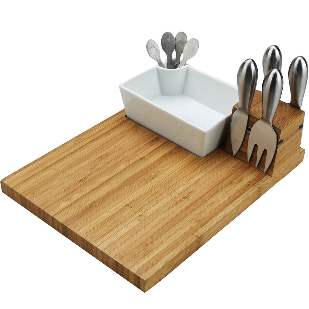 Bamboo Cheese Board And Tool Set In Cheese Serving