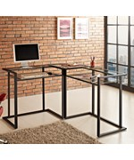 C-Frame Glass Metal Corner Computer Desk by Walker Edison