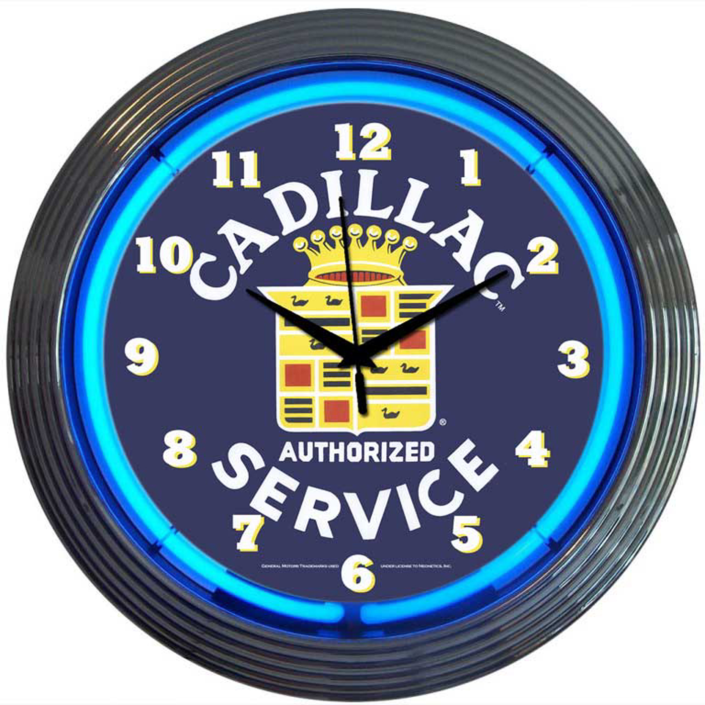 Cadillac Service Neon Clock by Neonetics in Wall Clocks