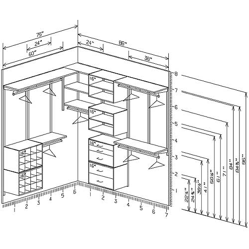 Gallery walk in closet plans dimensions for Walk in closet dimensions
