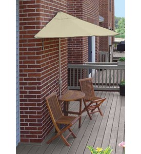 Caleo 5-Pc Patio Set with 9 Ft. Sunbrella Off-the-Wall-Brella by Blue Star Group Image