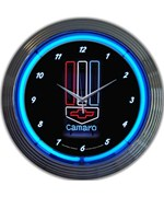 Camaro Red White and Blue Neon Wall Clock by Neonetics