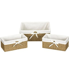 Canvas Lined Seagrass Baskets (Set of 3) Image
