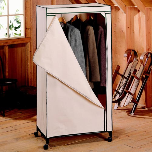 Rolling Canvas Storage Wardrobe In Clothing Racks And