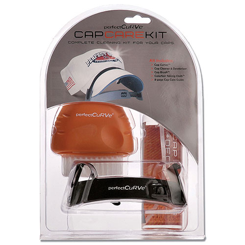 Baseball cap cleaning and care kit in baseball hat racks