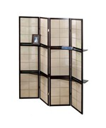 CAPPUCCINO 4 PANEL FOLDING SCREEN WITH 2 DISPLAY SHELVES BY MONARCH SPECIALTIES