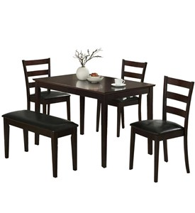 CAPPUCCINO 5PCS DINING SET WITH A BENCH AND 3 SIDE CHAIRS BY MONARCH SPECIALTIES Image
