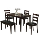 CAPPUCCINO 5PCS DINING SET WITH A BENCH AND 3 SIDE CHAIRS BY MONARCH SPECIALTIES