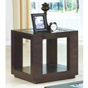 CAPPUCCINO VENEER END TABLE WITH GLASS INSERT BY MONARCH SPECIALTIES