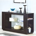 CAPPUCCINO VENEER SOFA TABLE WITH GLASS INSERT & SHELF BY MONARCH SPECIALTIES
