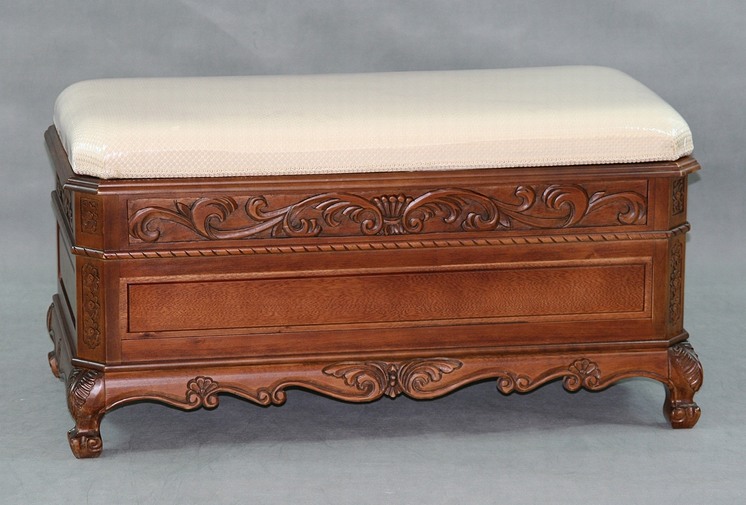 Carved Trunk Bench With Cushion Top In Storage Benches