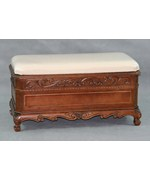 Carved Trunk Bench with Cushion Top