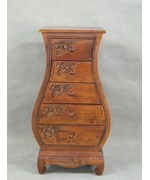 Carved Wood Five Drawer Bombay Chest