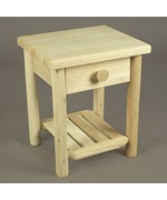 Cedar Log Nightstand with Drawer