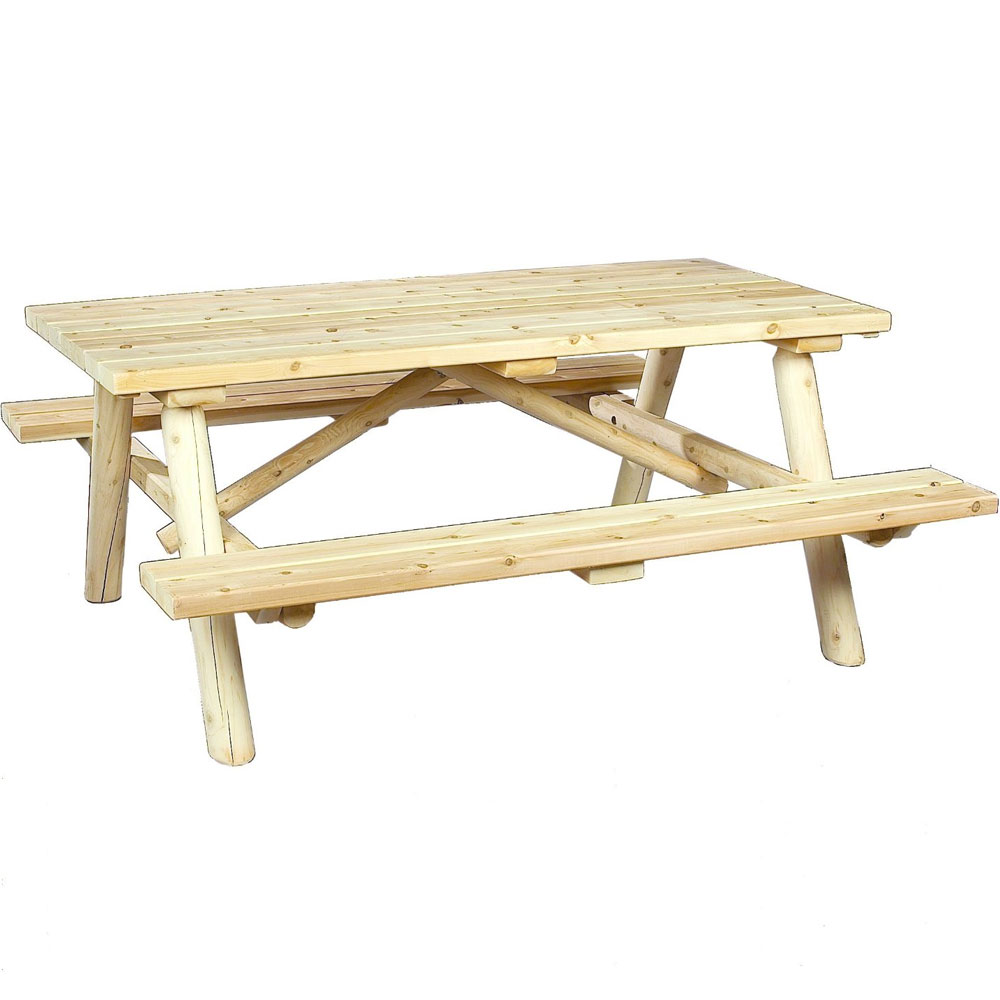 cedar log picnic table price