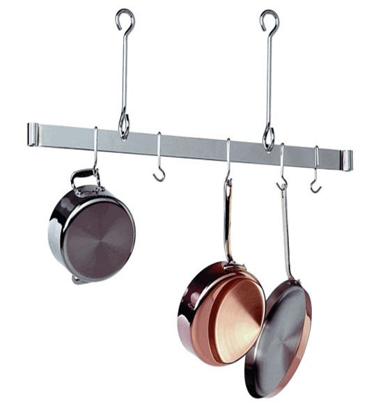 Hanging pots and pans from ceiling for Overhead pots and pans rack
