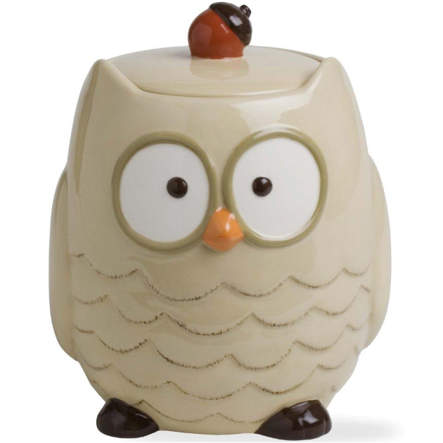 Ceramic Cookie Jar Autumn Owl In Kitchen Canisters