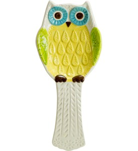 Ceramic Spoon Rest - Floral Owl Image