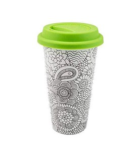 Ceramic Travel Coffee Mug - Coloring Image