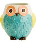Ceramic Utensil Holder - Floral Owl