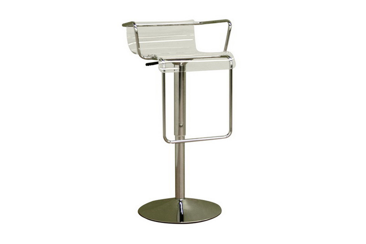 Chartreuse Low Back Acrylic Adjustable Barstool In Clear