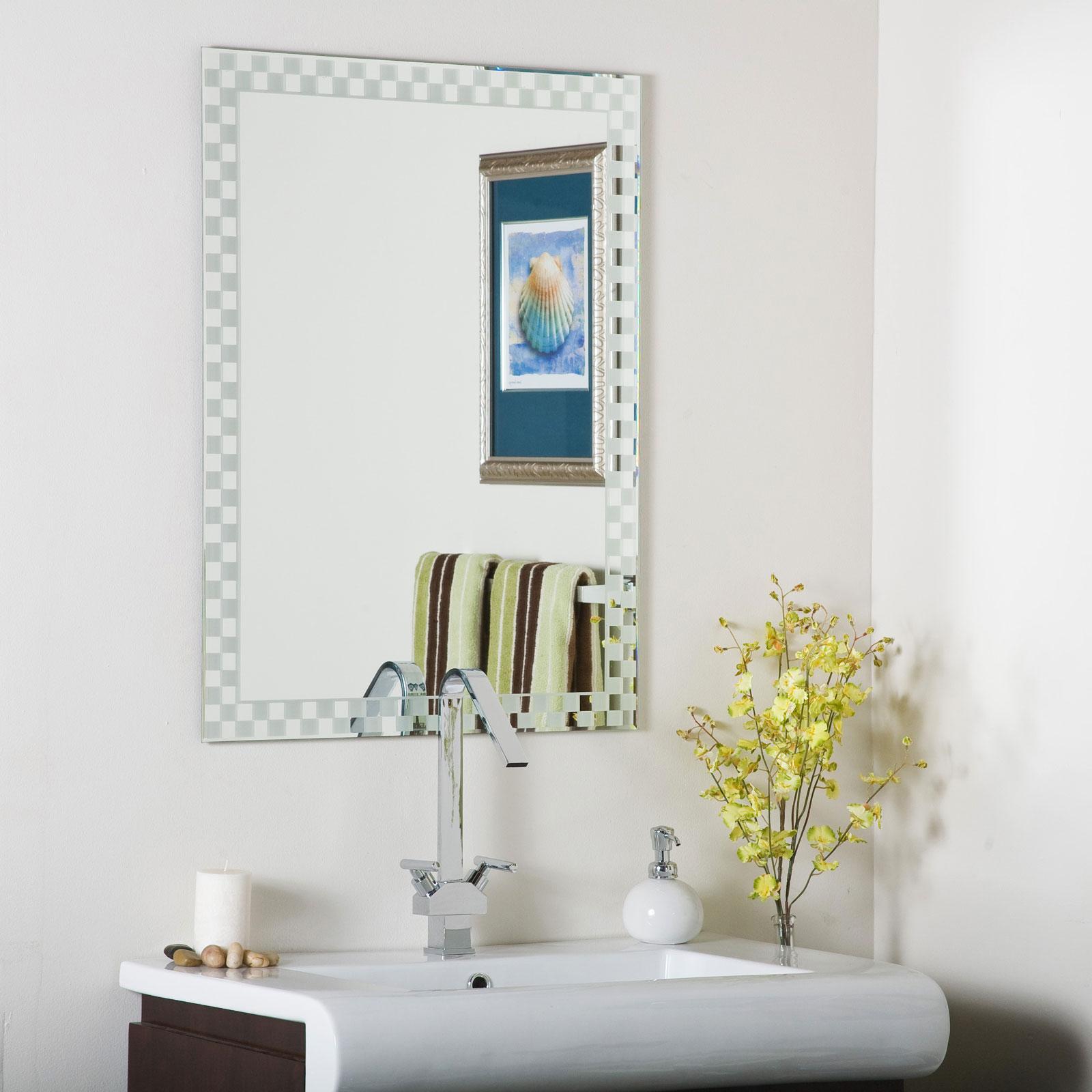 Checkers Frameless Wall Mirror By Decor Wonderland In Frameless Mirrors