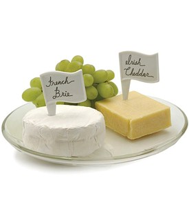 White Porcelain Cheese Label Flags (Set of 6) Image