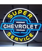 Chevrolet Service Chevy Neon Sign on Metal Grid by Neonetics